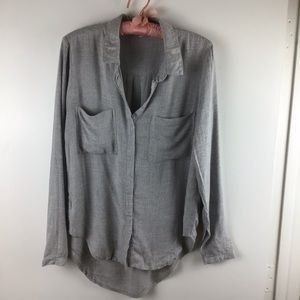 CLOTH & STONE Grey Button Down Long Sleeve Shirt